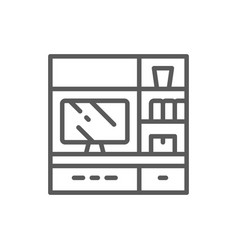 television on stand line icon vector image
