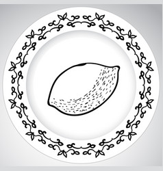 Template plates pattern with fruit in a graphic vector