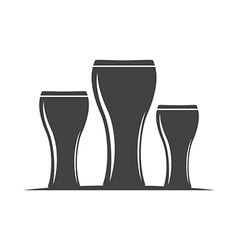 Three beer glasses Weizen type Black icon logo vector