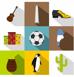Typical argentina icon set flat style vector