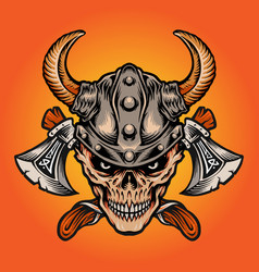 viking nordic warrior skull axe isolated vector image