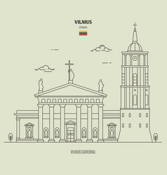 Vilnius cathedral lithuania vector