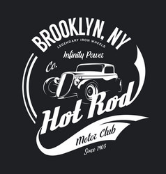 vintage hot rod tee-shirt logo vector image
