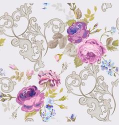 Violet roses barocco flowers background violet vector