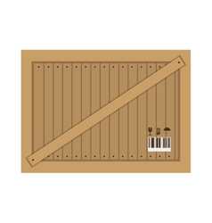 Wooden box for transportation icon vector