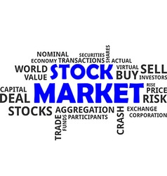 word cloud stock market vector image