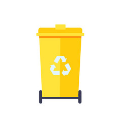 yellow trash can color icon vector image