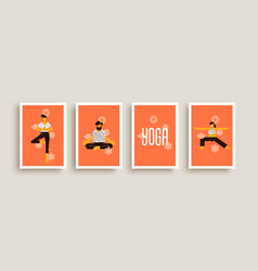 yoga pose people character concept collection vector image