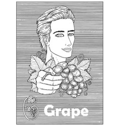 young handsome man holding grape berry vector image