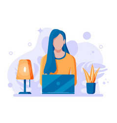 young woman with laptop vector image
