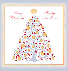 christmas background new year tree happy winter vector image