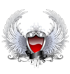 red angel shield vector image vector image