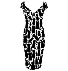 Set of dresses silhouette seamless pattern vector image vector image