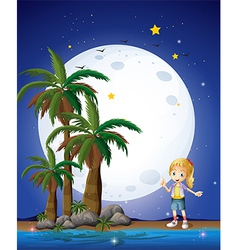 A girl at the beach under the bright fullmoon vector image vector image