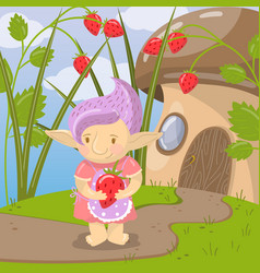 Cute troll girl character with strawberry standing vector