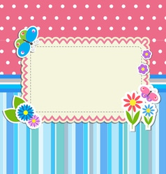 Frame with flowers and butterflies vector image vector image