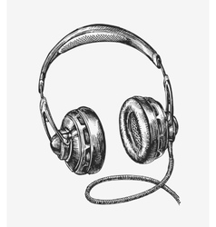 Hand-drawn vintage headphones Sketch music vector image