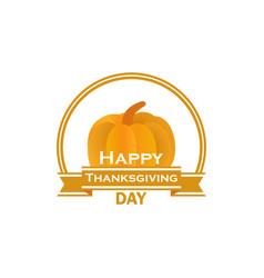 happy thanksgiving day pumpkin and ribbon vector image