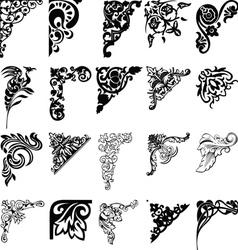 Set of twenty one color corners elements of design vector