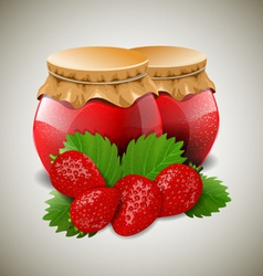 Two jar of jam with strawberry and leaves vector image