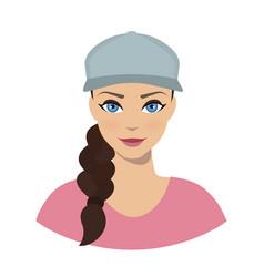avatar icon of girl in a baseball cap vector image
