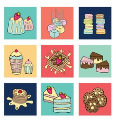 bakery doodle colorful square box vector image