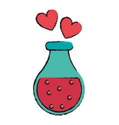 drawing bottle elixir love potion hearts vector image