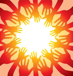 many hands around hot sun vector image vector image