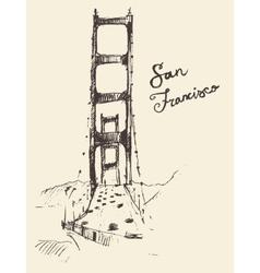 San Francisco Bridge Vintage Engraved vector image