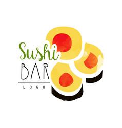 sushi bar logo template japanese food label vector image