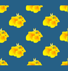 yellow canna lily flower seamless on indigo blue vector image vector image