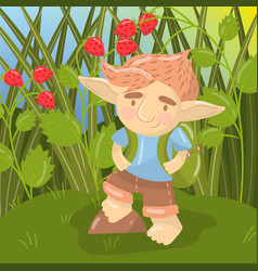 Cute troll boy character funny creature standing vector