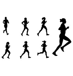 female marathon runners silhouettes vector image