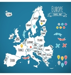 Hand drawn Europe travel map with pins vector image