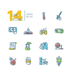 video gaming - thick line icons set vector image vector image