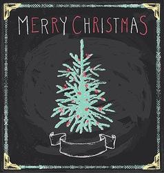 Vintage Merry Christmas Tree Chalkboard Hand Drawn vector image