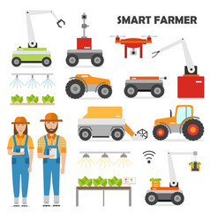 agriculture automation smart farming icons set vector image