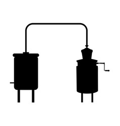 Alembic apparatus for distill beverages silhouette vector