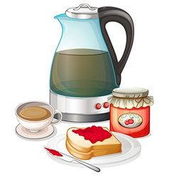 Apple jam and a pitcher of juice vector