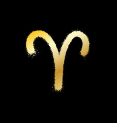 Aries zodiac sign gold paint sprayed icon vector