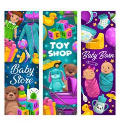 baby care toys shop cartoon kids stuff vector image