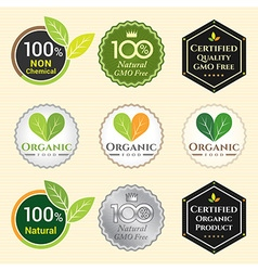 Badge Set of Certified organic Natural Fresh GMO vector