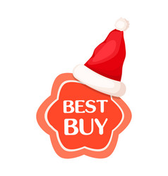 best buy discount label with santa claus hat vector image