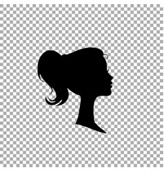 black profile silhouette of young girl or woman vector image
