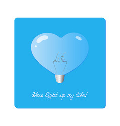 bulb in shape of heartn with the word life inside vector image