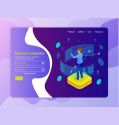 business analytics isometric website vector image