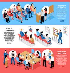 Business meeting isometric horizontal banners vector