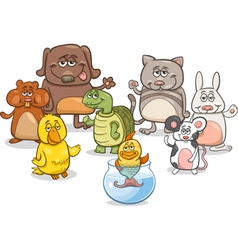 cartoon pet characters group vector image