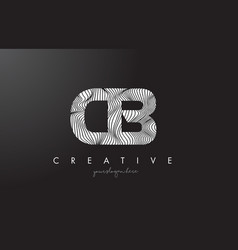 Cb c b letter logo with zebra lines texture vector