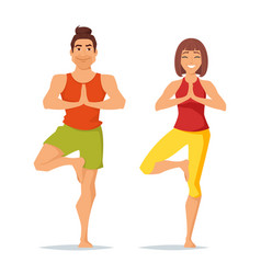 Characters man and woman doing yoga vector